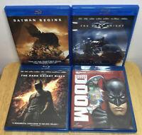 BATMAN Begins/Dark Knight/Dark Knight Rises/Doom. 4 Movie Bundle Set (Blu-ray)