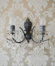 Grey Wall Scone Crystal Droplets Brocante Wall Lamp Light Ornate Shabby Chic