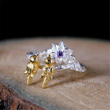 Women'S Fashion 925 Silver Bird Gold Adjustable Ring Marriage Jewelry Party Gift