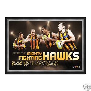 AFL Hawthorn Hawks 4 Player Facsimile signed Sportsprint Framed