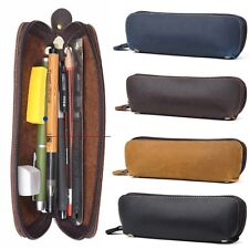 Vintage Genuine Leather Zipper Pen Bag Pencil Case Cosmetic Pouch Brush