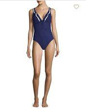 Shan Lolita V-Neck Wavy Lines Underwire One-Piece Swimsuit Sz10 $310