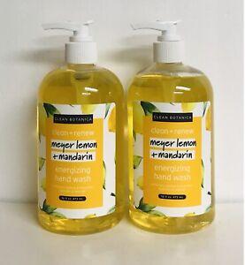 2 Bottles Clean  Botanica ~ Meyer Lemon & Mandarin Energizing Hand Wash 16 oz Ea