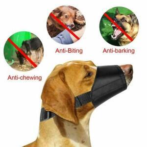 ADJUSTABLE STOP BARKING ANTI BARK SOFT BLACK DOG MOUTH MUZZLE PET CHEWING UK