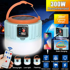 Rechargeable Solar LED Camping Light Lantern Hiking Tent Lamp Outdoor w/ Remote