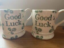 2 X Emma Bridgewater 'Good Luck' Clover 1/2 Half Pint Mug. Brand New. 1st Irish