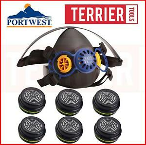 Portwest Vancouver Half Face Protector P420 + 6 P941Filters