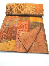Handmade Vintage Gudri Printed Silk Single Bedcover Patchwork Kantha Quilt Throw