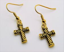 simply Unique Cross Design gold color Dangle Fish Hook Fashion Earring 5-18