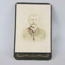 VTG Antique Studio Photo Cabinet Card stern man Mankato MN Minnesota Blissenbach