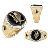Personality 18K Gold Eagle Wings Of Majesty Black Onyx Sapphire Ring Jewelry