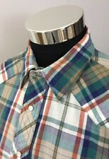 Wrangler Men's XL Western Shirt Long Sleeve Pearl Snap Green Blue Rust Plaid A72