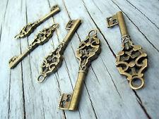 """Skeleton Keys Steampunk 2"""" Antiqued Bronze 100pcs Old Vintage Wedding Charm Bulk"""
