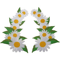 Pair of Daisy Flower Patches Iron Sew On Clothes Bag Flowers Embroidered Badge