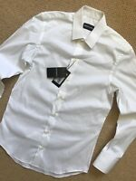 EMPORIO ARMANI WHITE PLAIN LONG SLEEVE SHIRT TOP P1C35T - S M L - NEW & TAGS