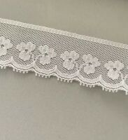 Vintage White Floral Lace Trim On Bridal Tulle W Scallop Edge 20mm Clover