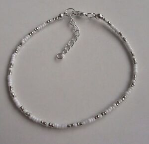 White and silver glass seed bead anklet ankle bracelet large plus size