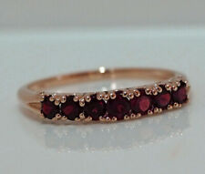 R302 Genuine 9K,10K, 18K Real Gold Natural Rhodolite 7-stone Half- Eternity Ring