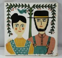VINTAGE '70's PENNSYLVANIA AMISH/DUTCH FARMER COUPLE CERAMIC TILE HAND DECORATED