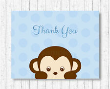Little Monkey Blue Thank You Card Printable