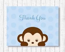 Little Monkey Blue Thank You Card Printable