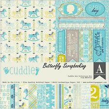 BABY BOY CUDDLE Collection 12x12 Scrapbooking Paper Crafting Kit Authentique New