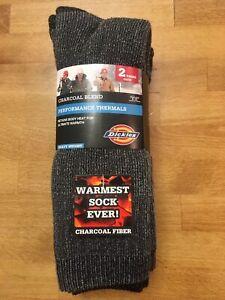 2 Pair Dickies Performance Thermal Crew Socks, Adult Shoe Size 6-12, Work, Boot