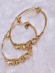 """9Ct 9k """"Gold Filled"""" 2 Adjustable Baby, Child, Toddler Bangle/Bracelet Zircon"""
