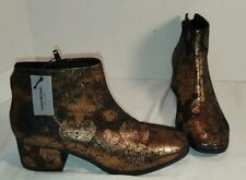 NEW WOMENS VAGABOND DAISY BRONZE FLORAL BLACK LEATHER ANKLE BOOTS US 8 EUR 38