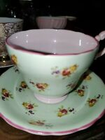Victoria C & E Vintage Bone China of England Teacup and Saucer Set shabby chic