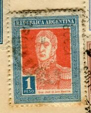 ARGENTINA; 1923 early San Martin issue fine used 1P. value, perf 13.5