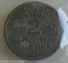 2 francs état français 1943 : B : pièce de monnaie française