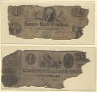Troy and Farmers Onondaga Bank Two Ugly NY Obsolete Currency Notes Cull Poor
