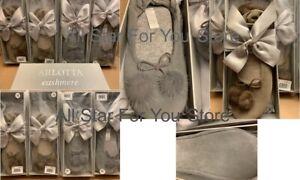 Arlotta Cashmere Slippers Drawstring Pom Pom Ballet Slippers