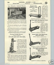 1937 PAPER AD Yale Hand Lift Truck Dollies Portable Elevator Wright Hoist