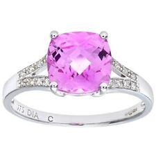 9ct Oro Bianco Sintetico Zaffiro Rosa e Diamante Naturale Taglio Cushion