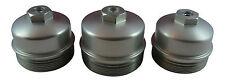 6.4L Powerstroke 3Pc Billet Oil Filter + Fuel Filter Upper + Lower Cap SET