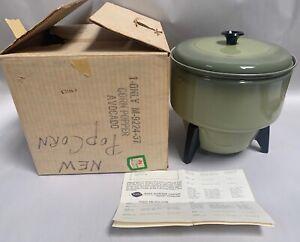 UNUSED Vtg Mirro M-9224-37 Avocado Electric Aluminum Popcorn Popper (A20)