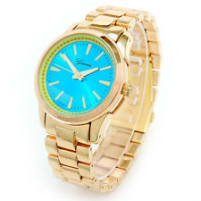 Gold Turquoise Dial Boyfriend Style Geneva Women's Watch