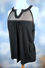 NEW RALPH LAUREN black boho bohemian mesh cotton tank top blouse shirt SZ: XL