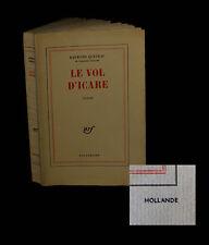[OULIPO – PATAPHYSIQUE] QUENEAU (Raymond) - Le Vol d'Icare. EO. Ex. sur Hollande