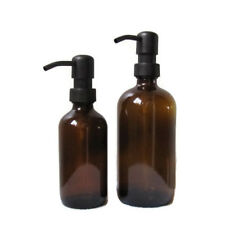 Amber Glass Soap Dispenser Set 16oz and 8oz with Oil Rubbed Bronze Soap Pumps