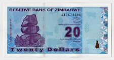 Zimbabwe. 20 Dollar Banknote. 2009. Post Inflation. Uncirculate. Crisp. Clean