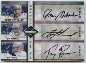 Troy Aikman Roger Staubach Tony Romo 2007 Leaf Limited Pairings Cowboys Auto /10