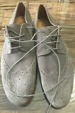 Men's F & F Grey Suede Brogue Patterend Shoe, Size 11