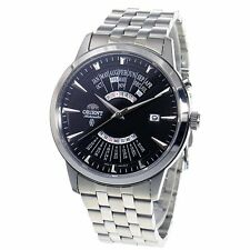 New ORIENT Men's Calendar model White dial Automatic watch SEU0A007BH Black
