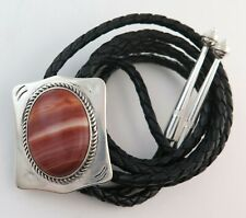 Attractive Sterling Silver & Banded Agate Southwestern Bolo Tie