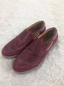Cole Haan Travel Venetian Slip On Leather Loafers Boat Shoes Sunset Suede Red 10