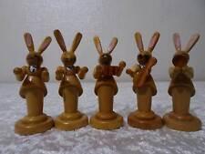 6 X Wood Figurine Easter Bunny