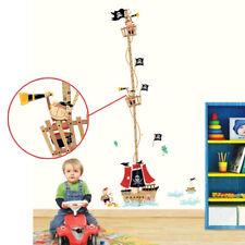 Pirate Ship Children Height Growth Chart Measure Wall Sticker Kids Room Decor UK